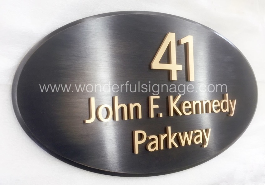 Antique finish bronze sign plaques